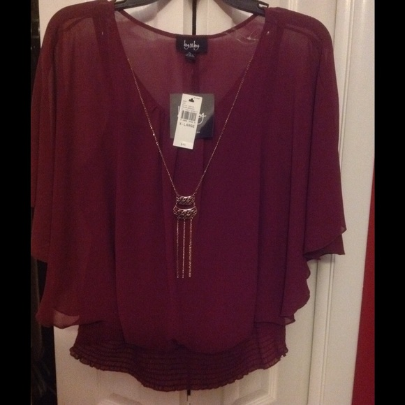 By Amp By Tops Elegant Burgundy Blouse With Attached