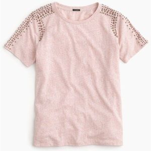J. Crew Tops - J.Crew beaded shoulder t-shirt