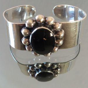 Jewelry - 925 Mexico silver cuff bracelet with a black onyx