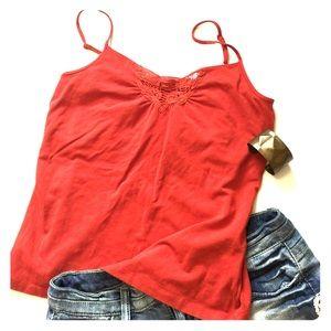 Burnt red lace eyelit design camisole
