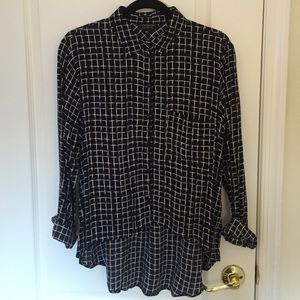 Topshop Checkered Hi-Low Long Sleeve Button Down