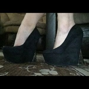 Wild Pair Shoes - Platform Suede Wedges