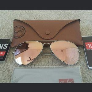 ray ban aviator sunglasses rose gold