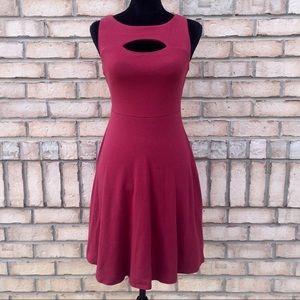 Burgundy Keyhole Dress