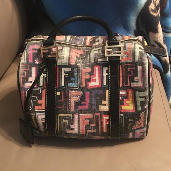 8f21b2e1d4b7 FENDI Handbags - FENDI Zucca Spalmati Forever Boston- Multicolor.