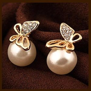 Boutique Jewelry - ED12 Double Sided Pearl Crystal Butterfly Earrings