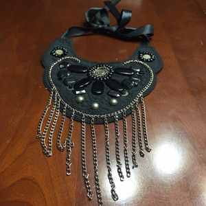 Francesca's Collections Jewelry - Black bib necklace with chain detail