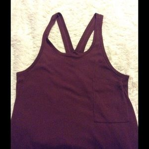 Casual Racerback Tank Top with pocket in Merlot