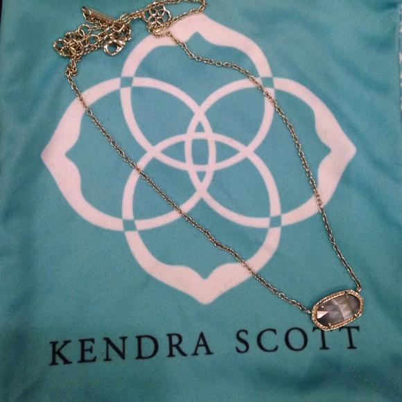 NWT Kendra Scott Elisa Slate Pendant Rhodium Necklace