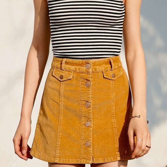 6c14ea0e30 Urban Outfitters Skirts | Nwt Bdg Mustard Yellow Corduroy Aline ...