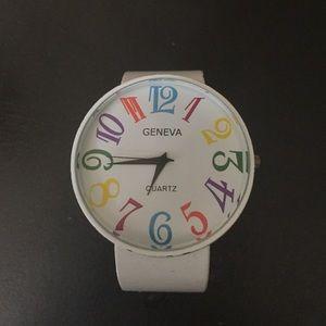 Geneva Accessories - Whimsical White Geneva Watch. Cuff style.