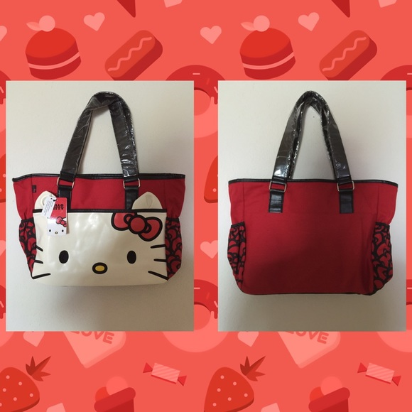 Sanrio Hello Kitty Loungefly Red Diaper Bag Tote b52761c8110a3