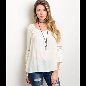 Tops - Off White Peasant Top- 2 Left!