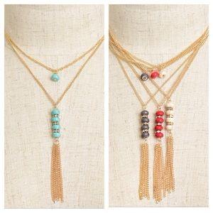 Jewelry - Multi Stone Tassel Necklace & Earrings