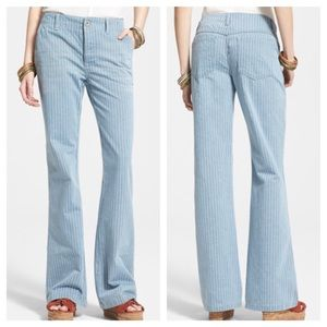 Free People Railroad Stripe Flare Jeans, Size 28