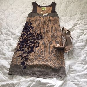 Purple embroidered Anthropologie shift dress