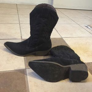 Shoes - Black cowboy boots from Kohl's.