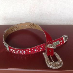 WB Atlas Accessories - FLASHY Red Western Belt