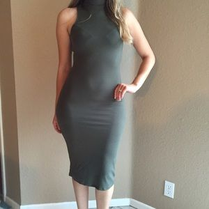 •LAST ONE• Olive High Neck Midi Dress