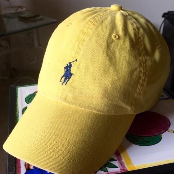 Polo Ralph Lauren Yellow Hat Navy Pony. M 570817c8680278ddc900ece0 58741f2c74c