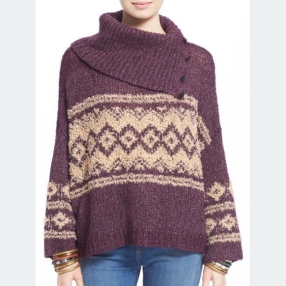 91% off Free People Sweaters - Free People Fair Isle split neck ...