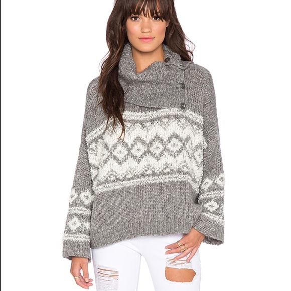 81% off Free People Sweaters - Free People Fair Isle split neck ...