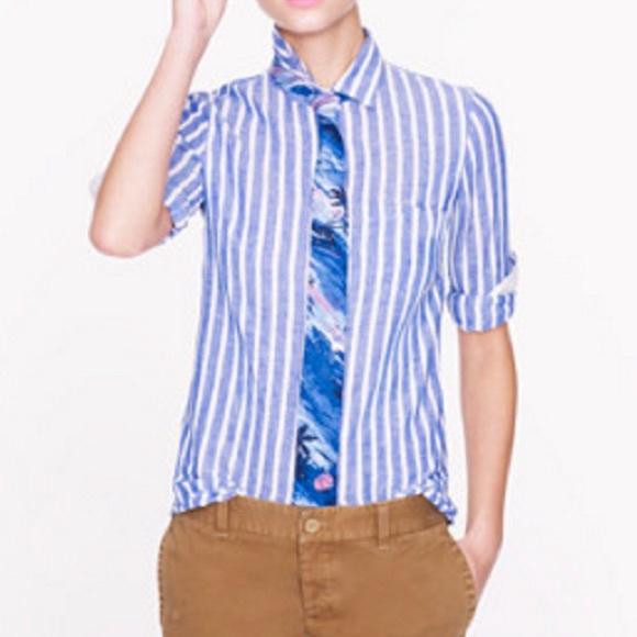 J. Crew Tops - J. Crew Women s Boy Shirt in Stripe Linen 4d8a9b7a3f