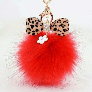 Accessories - Red pom-pom keychain/bag accessories 100% fur
