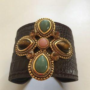 Andara Jewelry - Jade & Austrian Crystal Medallion Leather Cuff