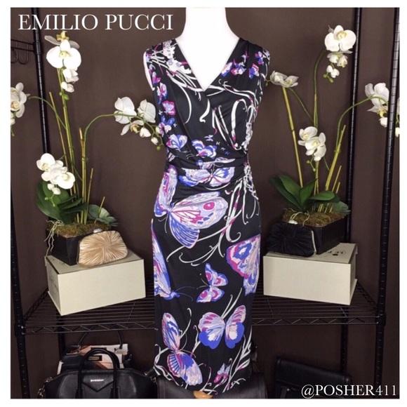 b8fa3cf06c0b5 Emilio Pucci Dresses | Butterfly Print Black Jersey Dress | Poshmark