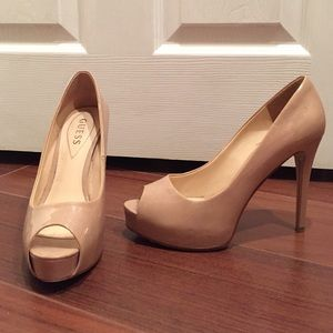 Guess Shoes - GUESS peep toe patent leather heels