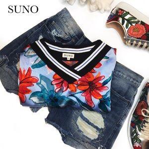 SUNO Dresses & Skirts - SUNO SILK BLUE FLORAL DRESS