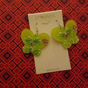 Jewelry - Green butterfly earrings