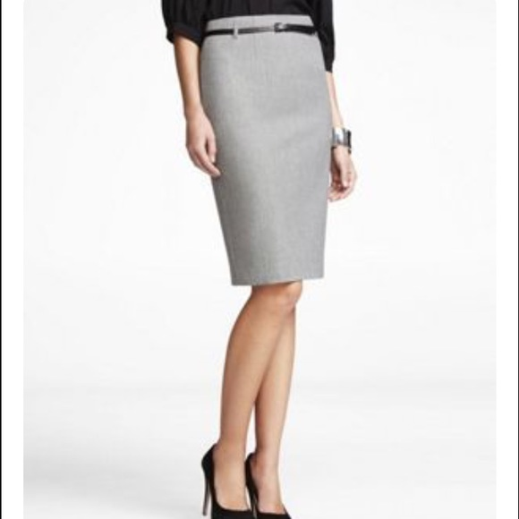 87% off Express Dresses & Skirts - Express Light Grey Pencil Skirt ...