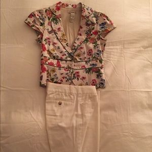 Theory Cream pant suit with garden jacket