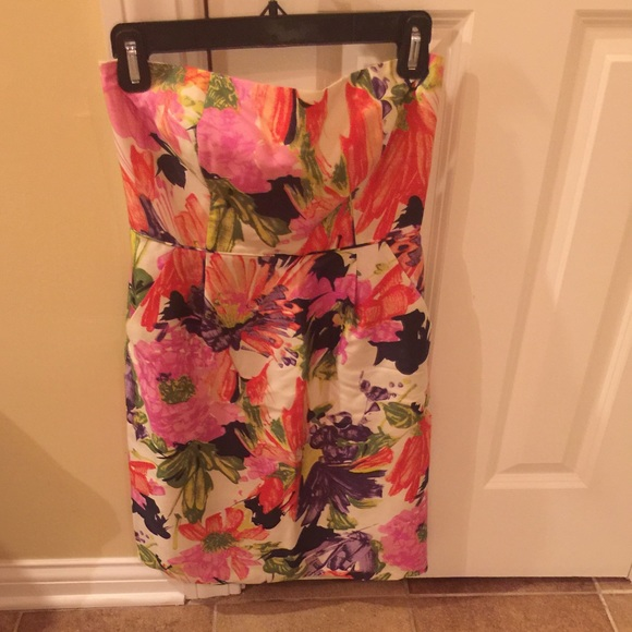 67% off J. Crew Dresses & Skirts - J. Crew strapless floral dress ...