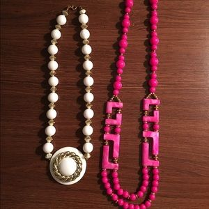 Lot of Two Vintage Necklaces - Pink and White