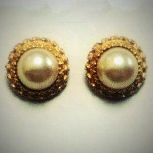 Vintage XL Kenneth Lane Pearl Clip Back Earrings