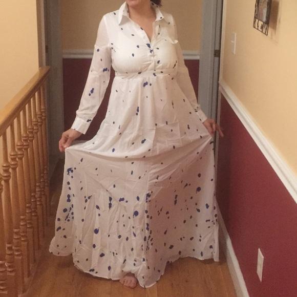 White long sleeve maxi shirt dress