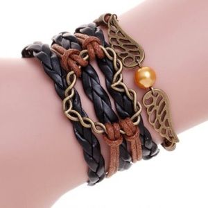Ushoptwo Jewelry - Multi Layer Leather Bracelet With Heart
