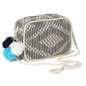Old Navy Bags - Old Navy Woven Cross-Body Pom-Pom Bag