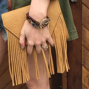 Boutique Handbags - Tan Fringe Clutch and Crossbody