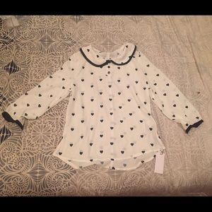Heart print Peter Pan collar top