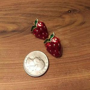 Retro enamel & gold strawberry earrings