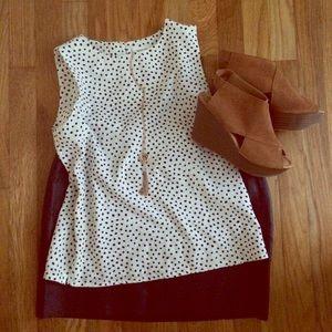 Vintage silky white and black polka dot blouse