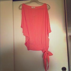 Adorable Coral tie-waist blouse!