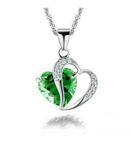 Jewelry - SALE😍925 Silver Emerald Green Crystal Double Hear