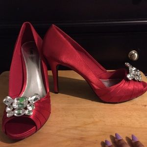 Shoes - Satin & bejeweled open toe heels