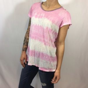 James Perse Destroyed Tie Dye Ringer Crewneck Tee