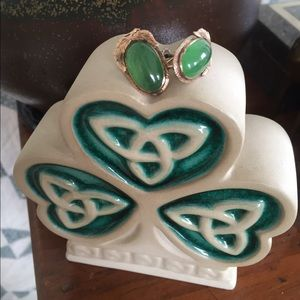 Vintage Green CHALCEDONY Screw-Back Earrings